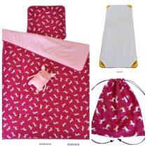 3 részes, ágynemű szett töltettel + ajándék tornazsák, unikornis pink