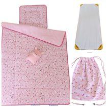 3 részes, ágynemű szett töltettel + ajándék tornazsák, unikornis rózsaszín