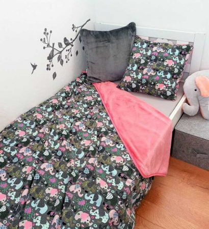 Gyerek kétoldalas #takaró elefántok 145x180
