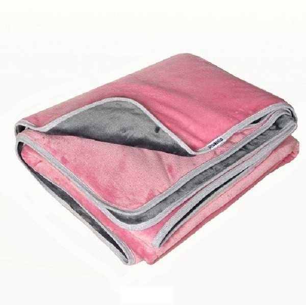 Fleece plüsstakaró duplarétegben old rózsaszín-szürke