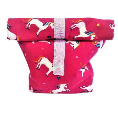 Textil uzsonnás tasak unikornis pink